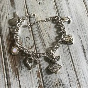 Jewelry - Silver guardian angel charm bracelet opal charms